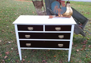 REFINISHED DRESSER AND SIDE STOOL