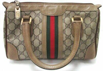 Vintage GUCCI Web Boston Doctor Top Handle Bag Satchel Purse Handbag