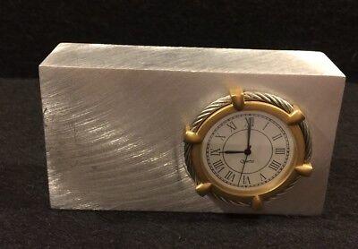 Vintage Stainless Steel & Cable Desk Clock quarts movement Silcon