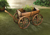 Country-Style Wagon Half Barrel Planter With Wagon Wheels New