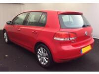 2012 RED VW GOLF 1.6 TDI 105 MATCH DSG DIESEL 5DR HATCH CAR FINANCE FR £20 PW