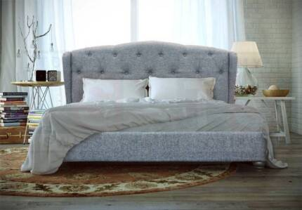 KING bed FRENCH DESIGNER BED!! TULLY BED 1 GREY HALF PRICE 50%
