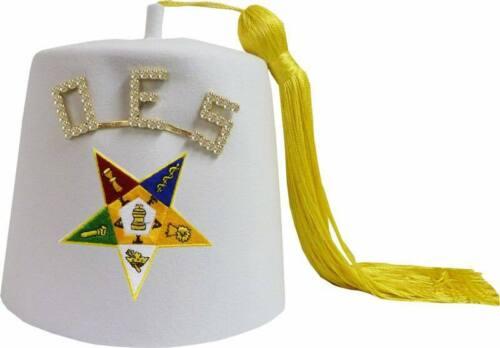 Order of the Eastern Star OES Rhinestone White Fez-HSE