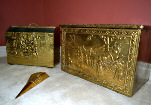 Rare Antique Fireplace Embossed Brass Firewood Chest Decor Set