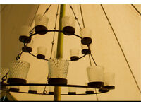 Double Tier Glamping Bell Tent chandelier. Brand new and boxed. Clear and multicoloured available.