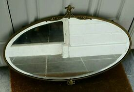 Vintage bevelled mirror brass gold coloured frame and original chain great condition