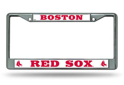 Boston Red Sox Frame (Boston Red Sox WHITE Metal Chrome License Plate Frame Auto Truck Car MLB NWT )