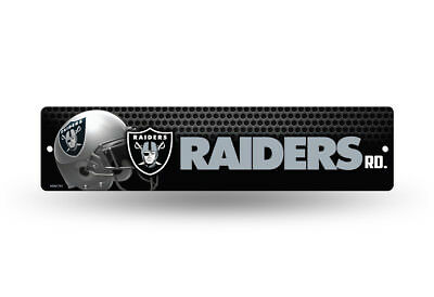 Oakland Raiders Display (OAKLAND RAIDERS ROAD ~ NFL Plastic Wall Display 4 x 16 Street Sign Decoration )
