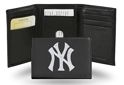 New York Yankees MLB Team Logo Embroidered Leather TRIFOLD (Leather Mlb Wallet)
