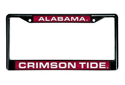 - Alabama Crimson Tide Laser Cut Black Chrome Metal License Plate Frame