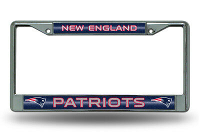 New England Patriots BLING Metal Chrome License Plate Frame Auto Truck Car NWT  - Patriots Car