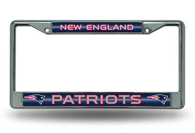 New England Patriots BLING Metal Chrome License Plate Frame Auto Truck Car NWT  - New England Patriots Plates