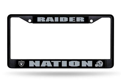 Oakland Raiders NATION Metal BLACK License Plate Frame Auto Truck Car NWT - Nfl Oakland Raiders