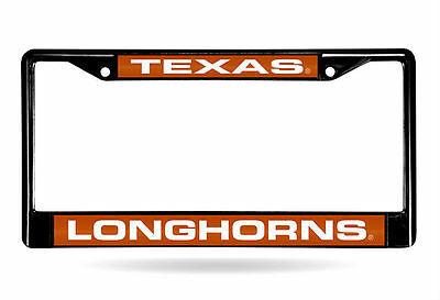 Texas Longhorns Laser Cut Black Chrome Metal License Plate Frame Texas Longhorns Metal License Plate