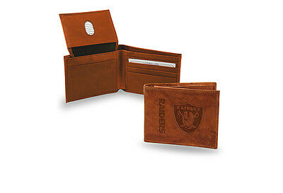 Oakland Raiders STANDARD Authentic Embossed Leather Billfold Wallet NWT Football ()