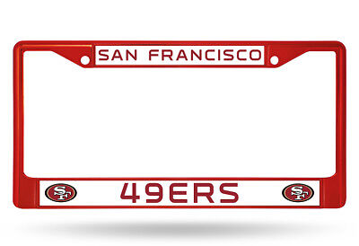 San Francisco 49ers Metal License Plate Frame - Auto Tag Holder - NEW Red Red Ticket Holder