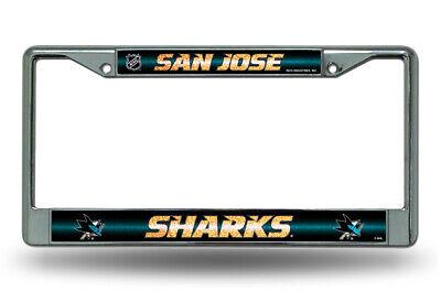 San Jose Sharks NHL Glitter Bling Chrome License Plate Frame Car Truck Wall