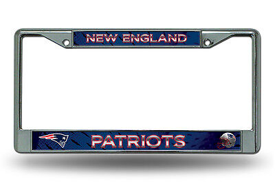 New England Patriots Authentic Metal Chrome License Plate Frame Auto Truck Car  - New England Patriots Plates