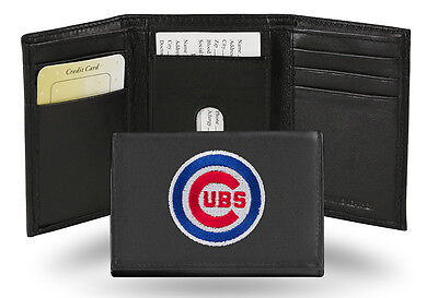 Chicago Cubs MLB Team Logo Embroidered Leather TRIFOLD Wallet