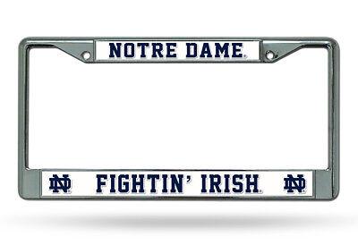 Irish Metal License Plate Frame (Notre Dame Fighting Irish WHITE Metal Chrome License Plate Frame Auto Truck Car  )