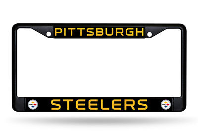 Pittsburgh Steelers Authentic Metal BLACK License Plate Frame Auto Truck Car NWT