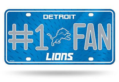 Detroit Lions #1 Fan Auto Car Truck Metal License Plate Tag New Light -