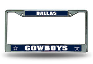 dallas cowboys metal chrome license plate frame auto truck car nfl hologram