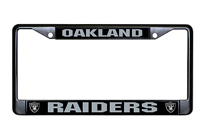 Oakland Raiders Authentic Metal Black License Plate Frame Auto Truck Car Nwt