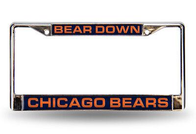 Chicago Bears BEAR DOWN Chrome Metal Laser Cut License Plate Frame