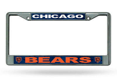 Chicago Bears Authentic Metal Chrome License Plate Frame Auto Truck Car NWT