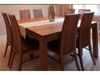 Walnut Dining Room Table with 8 Chairs