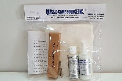 NEW NES NINTENDO 72 PIN REPAIR CONNECTOR & PRO CLEANING KIT WITH KEY