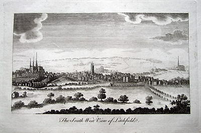 STAFFORDSHIRE,PANORAMA OF LICHFIELD ,Antique Print 1804
