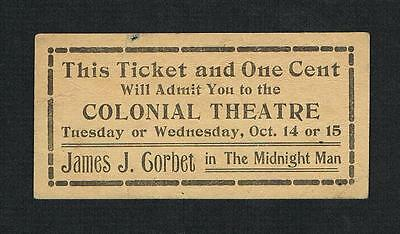 VERY RARE 1919 James J. Corbett Midnight Man vaudeville ticket boxing boxer Jim