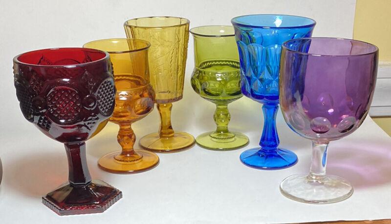 Set Of 6 Vintage Mismatched Rainbow  Glasses Wine Water Goblets Boho Wedding