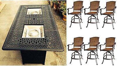 Bar height fire pit table set propane 7 piece cast aluminum outdoor wicker patio ()