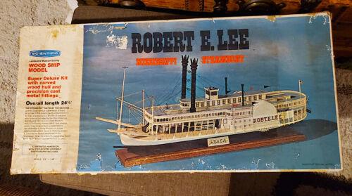 Vintage 1972 ROBERT E LEE Scientific Wooden Ship Model Mississippi STEAMBOAT Kit