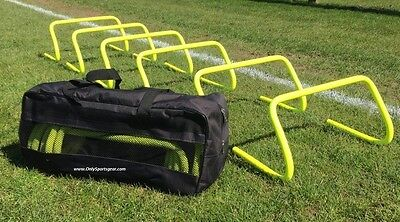 "Set of 6 Agility Hurdles 9"" with Carry Bag Football Speed & Agility Training UK"