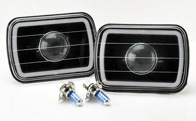 "7x6"" H4 Black Projector CCFL Red Halo Glass Headlight Conversion w/ Bulbs Plym"