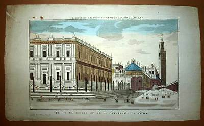 View optical ARCHIVES GENERAL INDIES and CATHEDRAL SEVILLE engraving