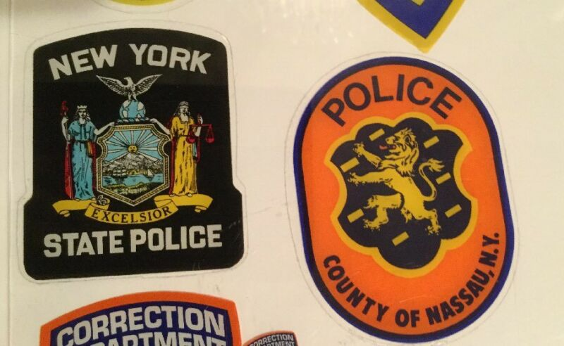 New York State + Nassau County Police OFFICIAL In/Window Face/Out Decal Stickers