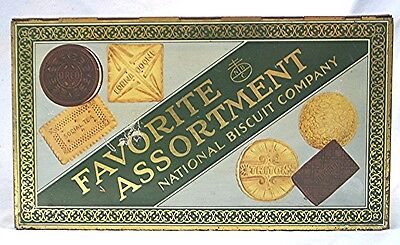 Vintage Tin Advertising Biscuit Box -- National Biscuits