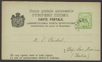 Montenegro postal card HG #9 1888-89 3n yellow green used 1893 to San Marino