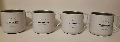 4 NEW Starbucks Est 1971 Stainless Steel 2016 White Camping Coffee Mug Cup 12 oz