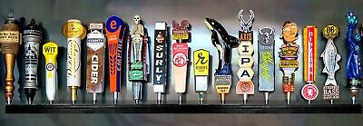 WALNUT BEER TAP HANDLE DISPLAY WALL MOUNTED HOLDS 17 beer tap handles