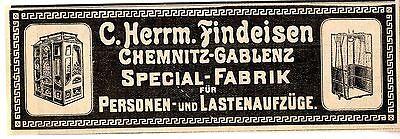C. Herrm. Findeisen Chemnitz- Gablenz Personen- u. Lastenaufzüge Annonce 1907