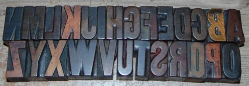 "Complete 1 5/16"" Tall Wood Letterpress Printing Blocks Type Alphabet"
