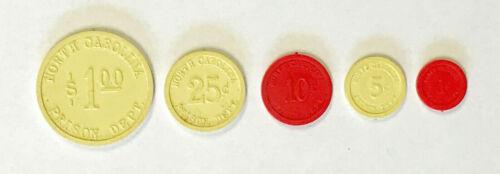 Set of 5 Prison Coins Money Tokens North Carolina Prison Department