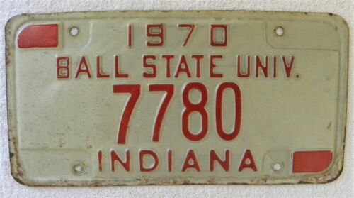 1970 Indiana Ball State University, #7780 IN License Plate