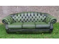 Chesterfield Thomas Lloyd Hump Back Green Leather 3 Seater Sofa - Uk Delivery